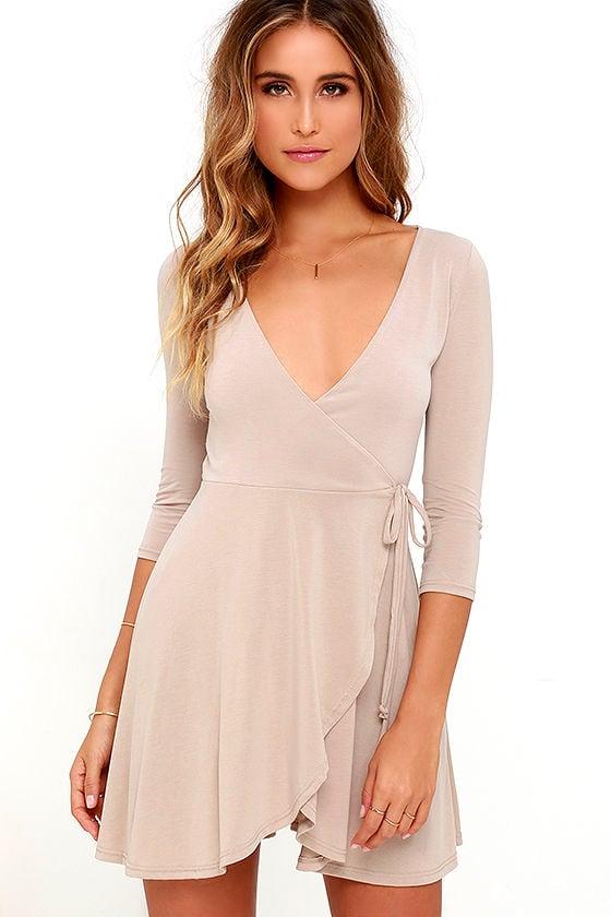 Lovely Jersey Knit Dress Beige Dress Wrap Dress