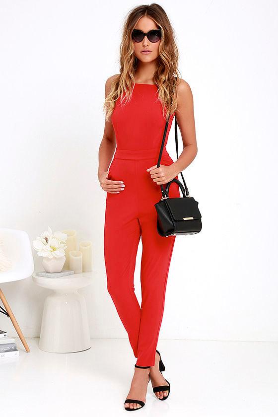 3d427281cf0348 Chic Red Jumpsuit - Backless Jumpsuit - Taper-Leg Jumpsuit - $54.00