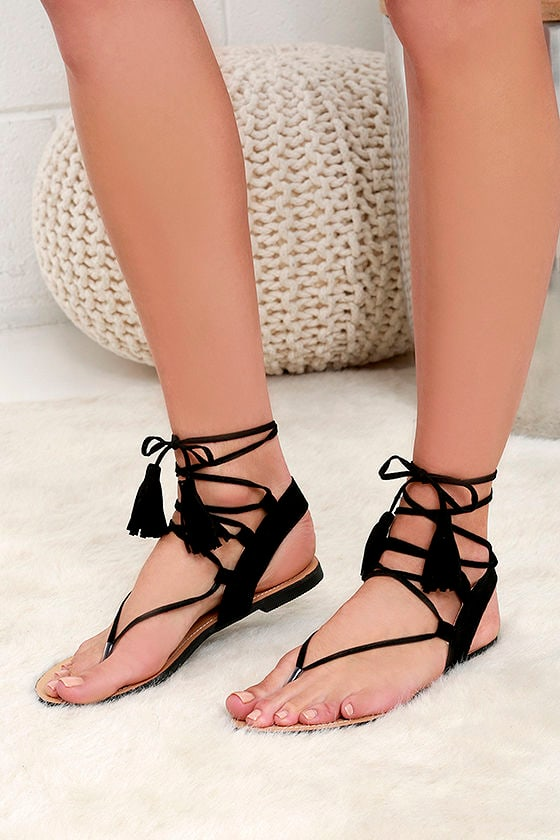 955354ba631 Cute Black Sandals - Flat Sandals - Lace-Up Sandals -  25.00