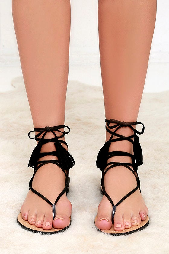 c1989b176 Cute Black Sandals - Flat Sandals - Lace-Up Sandals -  25.00