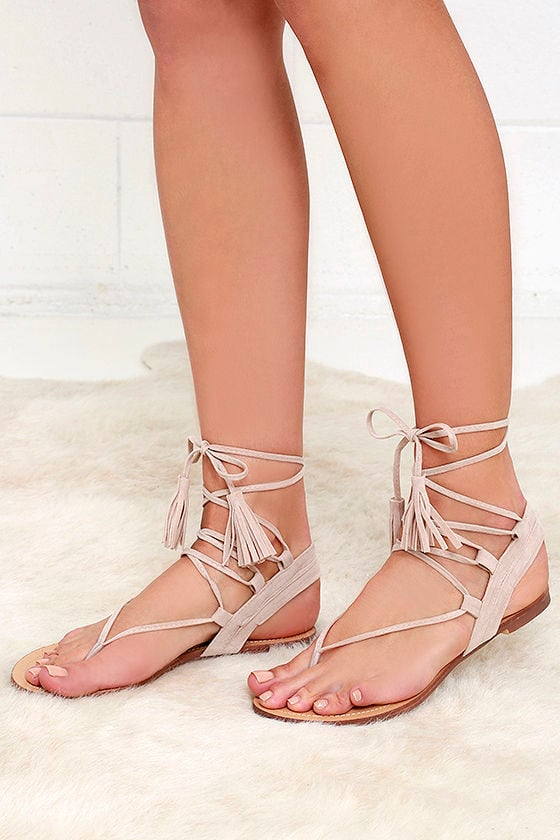 Sun Kiss Nude Suede Lace-Up Flat Sandals 1