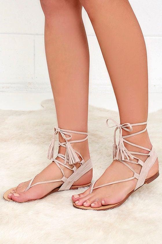 Cute Nude Sandals Flat Sandals Lace Up Sandals 25 00