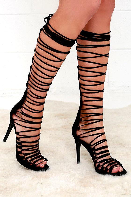 561460cfe125 Tall Lace-Up Heels - Black Heels - Suede Heels -  45.00