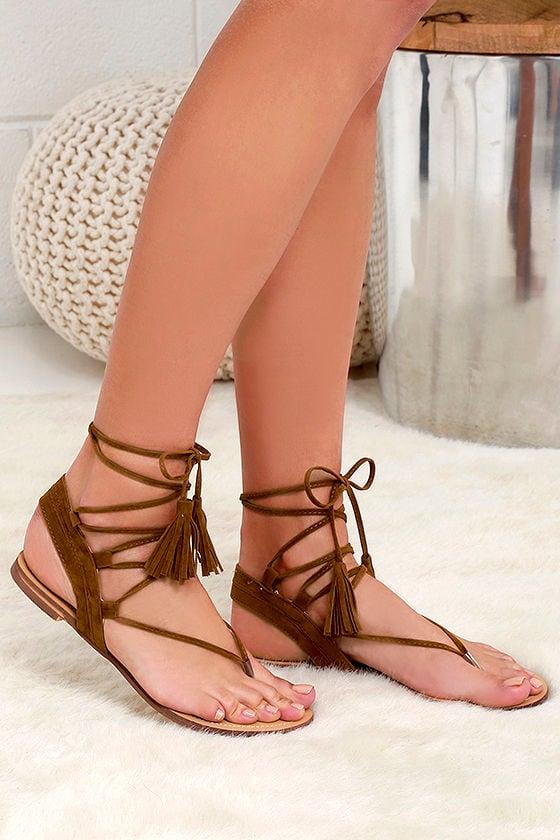 7e6a03a24fc Cute Tan Sandals - Flat Sandals - Lace-Up Sandals -  25.00