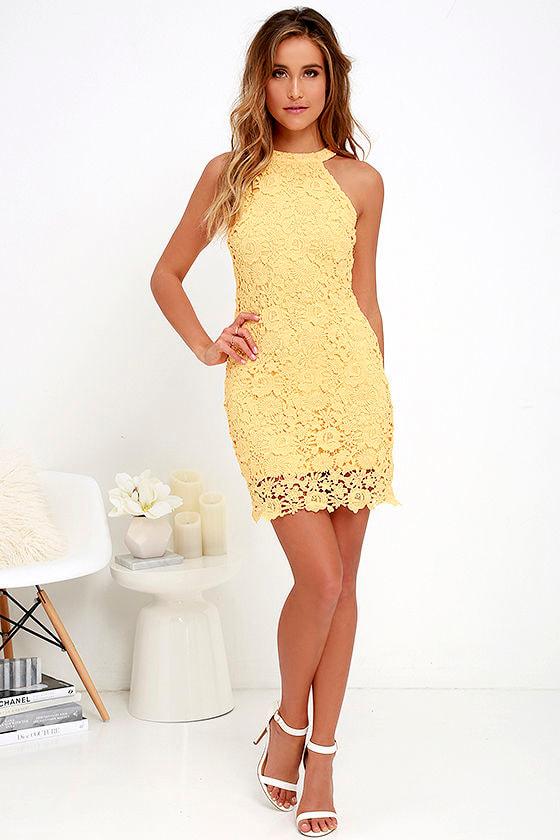 lace dress yellow dress sleeveless dress 6400