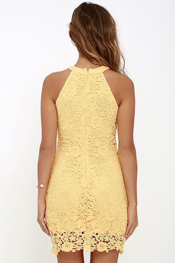 Lace Dress - Yellow Dress - Sleeveless Dress - $64.00