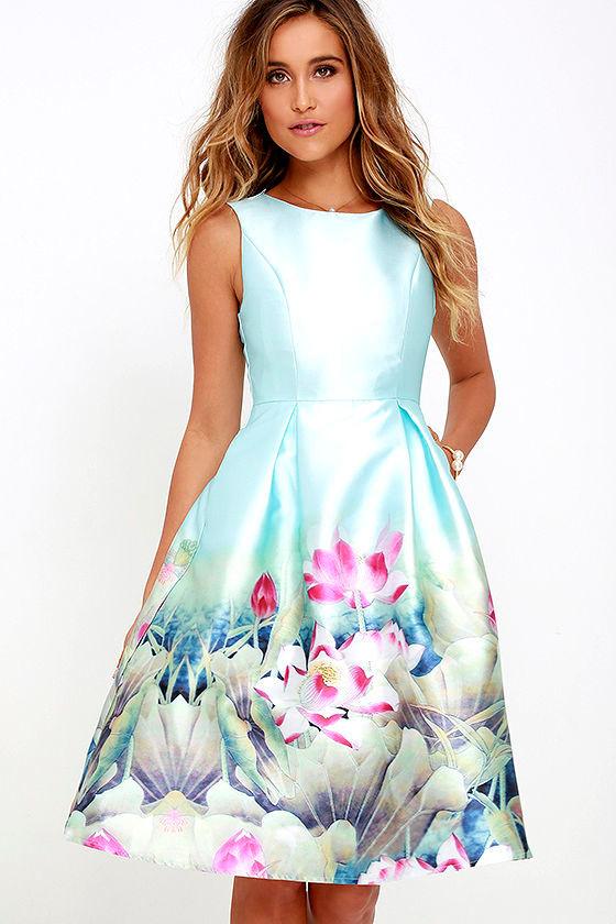 Floral Print Dress Light Blue Dress Midi Dress 68 00