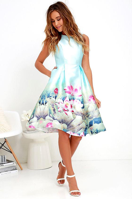 f34fbcc81f3c Floral Print Dress - Light Blue Dress - Midi Dress -  68.00