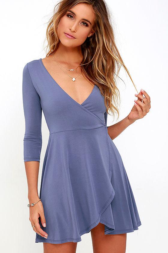 Lovely Jersey Knit Dress - Blue Dress - Wrap Dress - Skater Dress ...