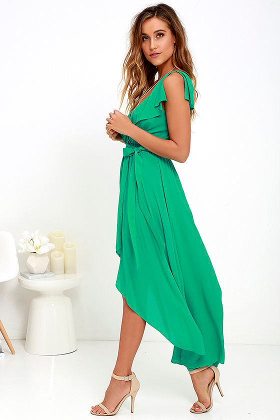 Pretty green dress high low dress ruffle dress wrap for High low wedding guest dresses