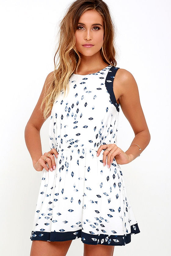 f025e2e93ef Cute Skort Dress - Blue Print Skort Dress - Romper - Skater Dress -  68.00