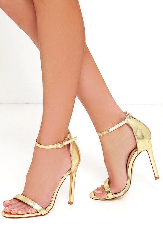 87bc62dfc41 Sexy Gold Heels - High Heel Sandals - Metallic Single Sole Heels ...