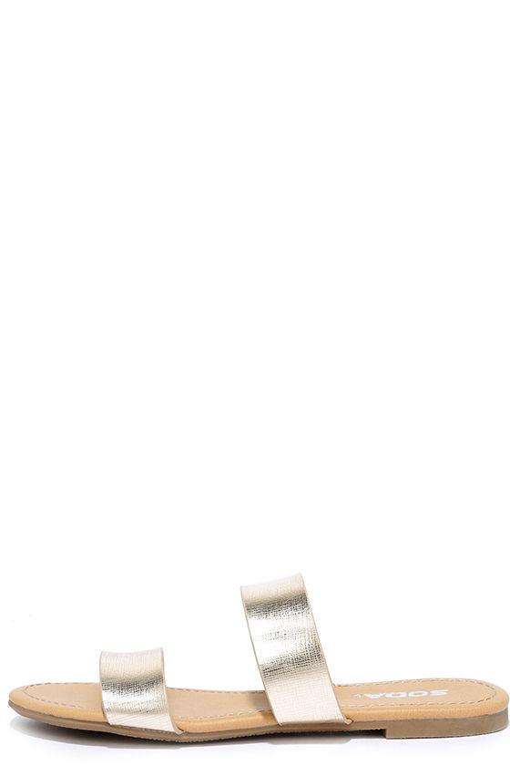 65c1ae31eba Chic Gold Sandals - Slide Sandals - Metallic Sandals -  16.00