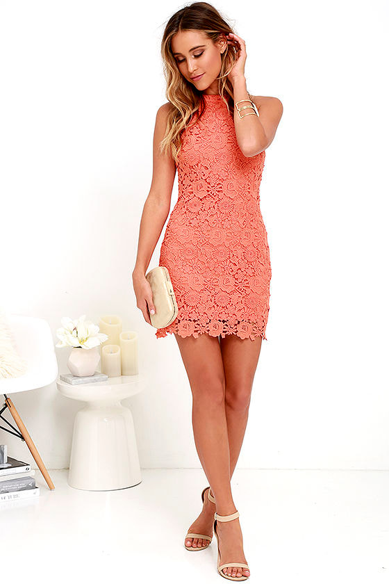 lace dress coral orange dress sleeveless dress 6400