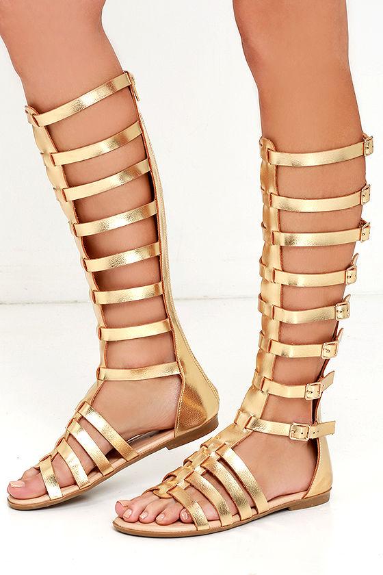 0a8f38ddb029 Cute Gold Sandals - Flat Sandals - Gladiator Sandals -  32.00
