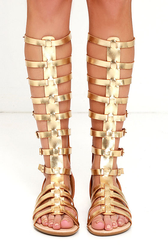 b488ae65735 Cute Gold Sandals - Flat Sandals - Gladiator Sandals -  32.00