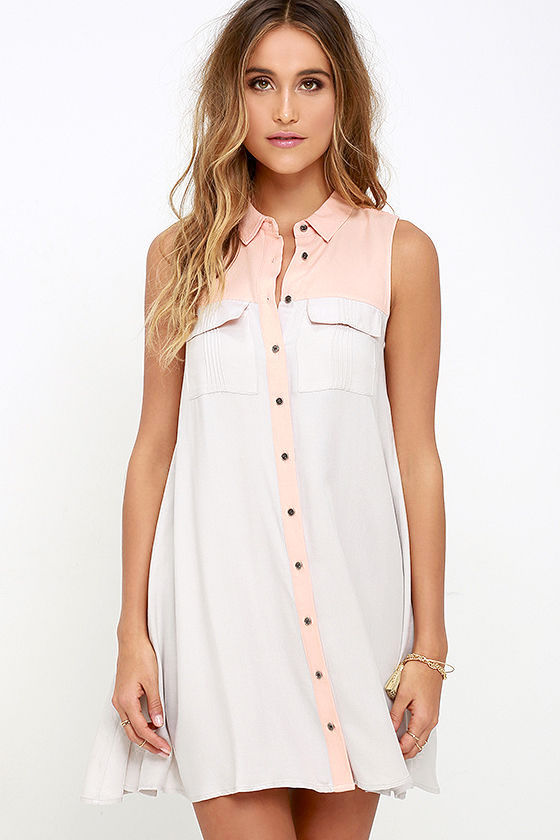 b576a22ee038 Cute Peach and Grey Dress - Swing Dress - Color Block Dress - $68.00