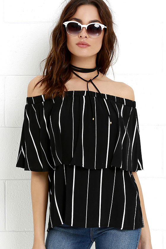 a9895373aa1f97 Cute Striped Top - Off-the-Shoulder Top - Ivory and Black Top -  32.00