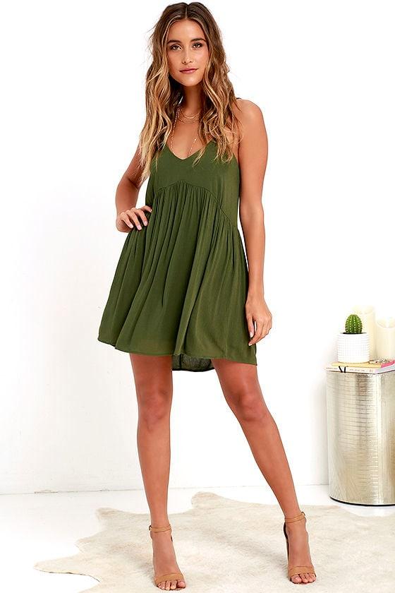 47ed0ec149af4 Lovely Olive Green Dress - Babydoll Dress - Swing Dress -  45.00