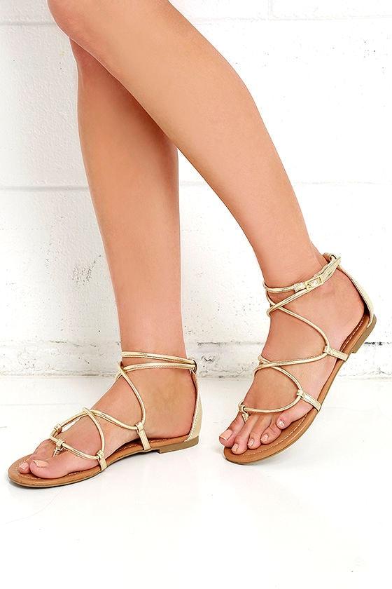 Cool Gold Sandals - Flat Sandals