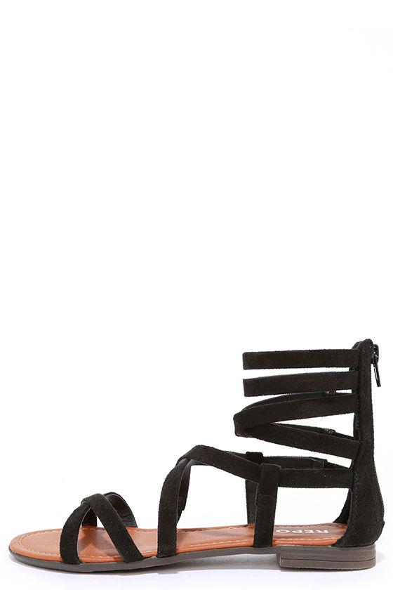 991fbc68705a63 Cute Black Sandals - Suede Sandals - Gladiator Sandals -  40.00