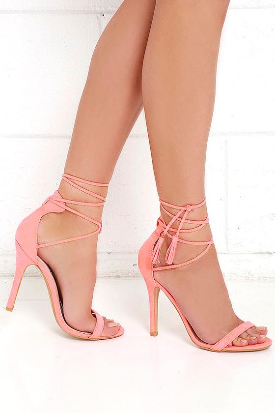 Cute Coral Heels Lace Up Heels Single Sole Heels 32 00