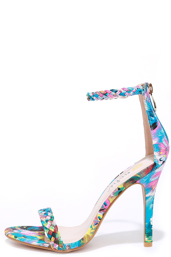 Braid for Each Other Multi Print Ankle Strap Heels at Lulus.com!