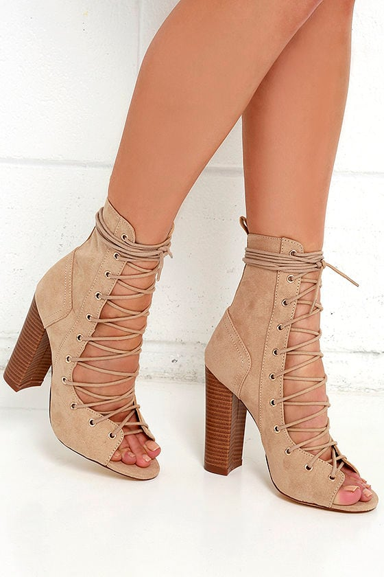 stylish beige booties high heel booties lace up