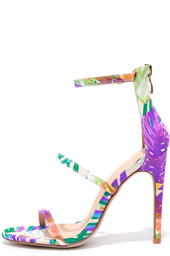 43b1bf9a563452 Sexy Floral Print Heels - Dress Sandals - High Heel Sandals - $32.00