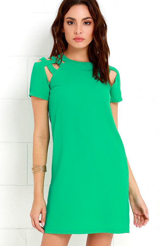Green Dress - Shift Dress - Short Sleeve Dress - $42.00