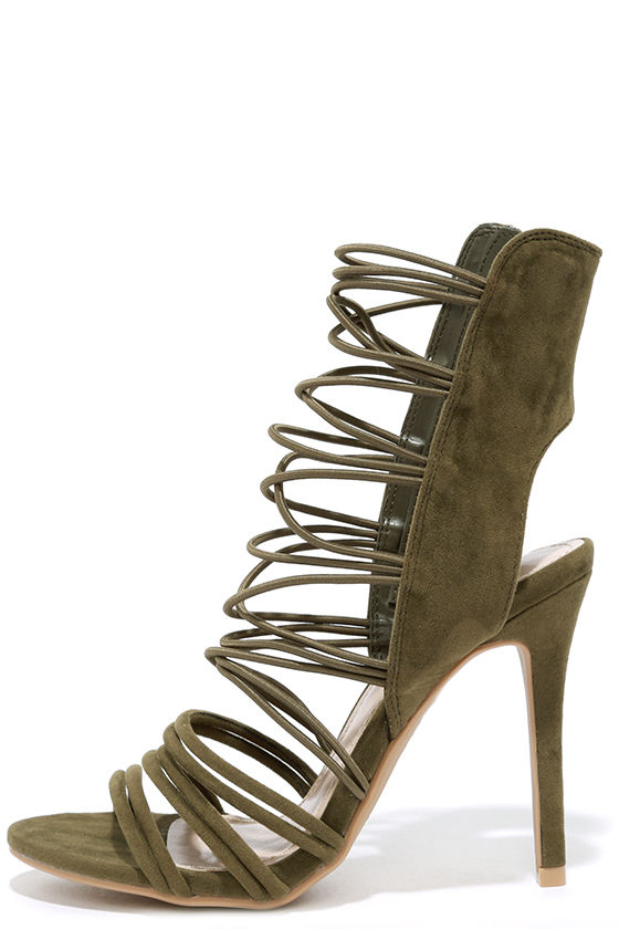 35995a314de Sexy Olive Heels - Caged Heels - Dress Sandals -  39.00
