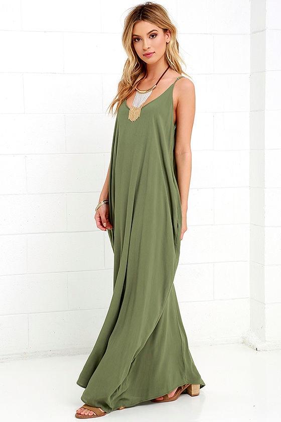 Lovely Olive Green Dress Maxi Dress Gauzy Dress