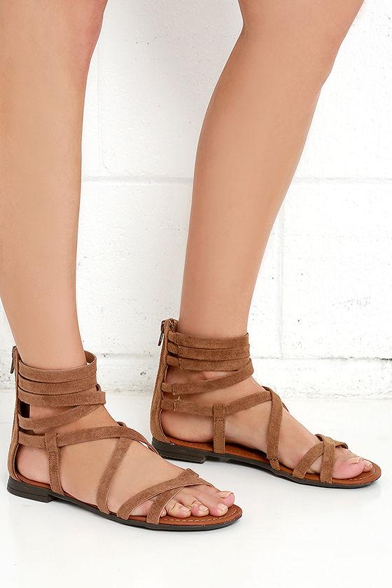 Cute Tan Sandals - Suede Sandals