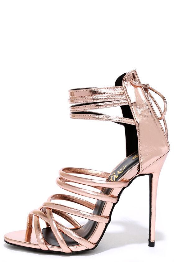 Lovely Rose Gold Heels - Metallic Heels - Caged Heels - $39.00