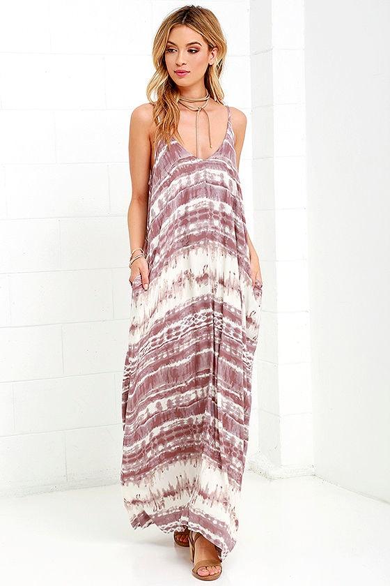 Yours Tule Mauve Tie-Dye Maxi Dress 1