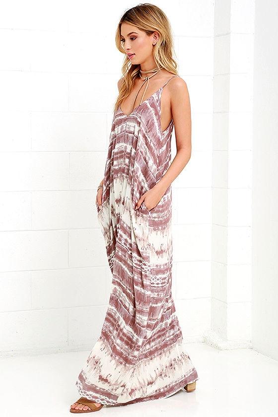 Yours Tule Mauve Tie-Dye Maxi Dress 3