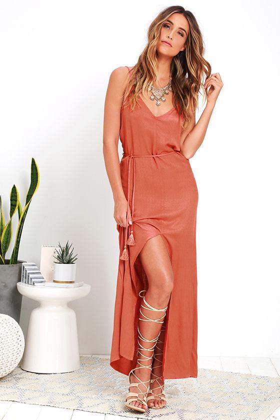 Burnt Orange Long Bridesmaid Dresses,A-Line Halter Floor ... |Burnt Orange Gowns
