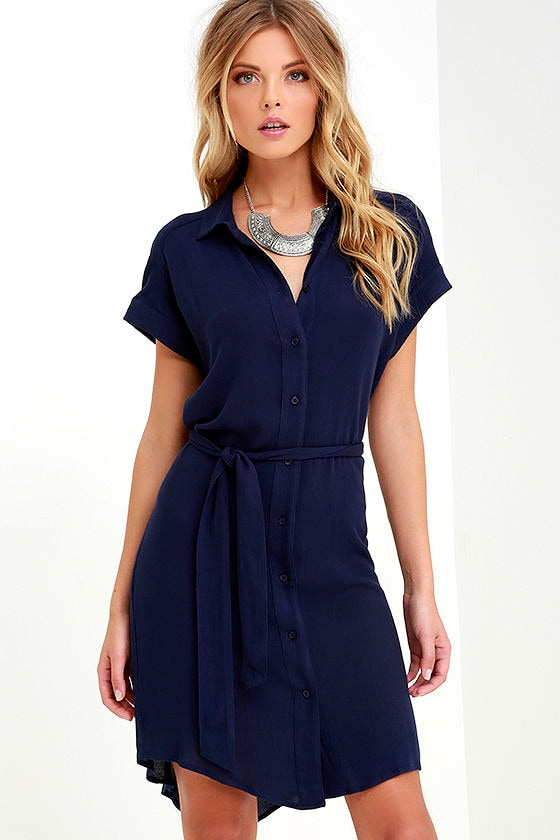 f8b1ab806 Cute Navy Blue Dress - Belted Dress - Shirt Dress - $52.00