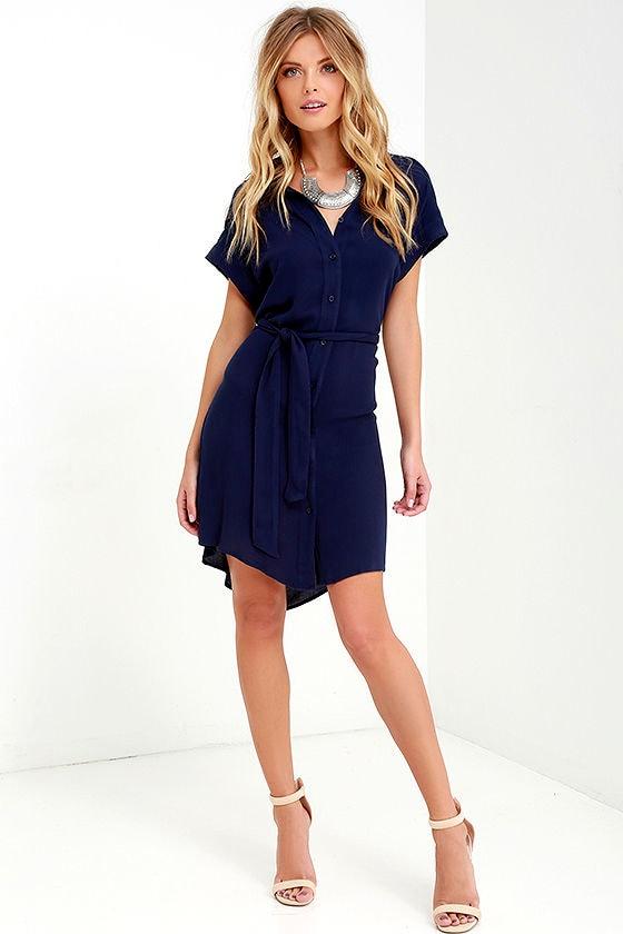 3c6051ed5b4 Cute Navy Blue Dress - Belted Dress - Shirt Dress -  52.00