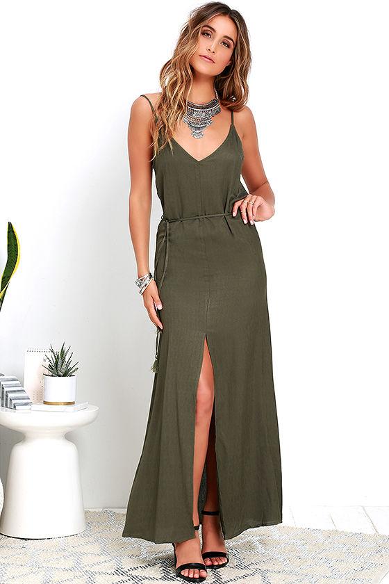 8f609b752a4 Fresh Air Olive Green Maxi Dress