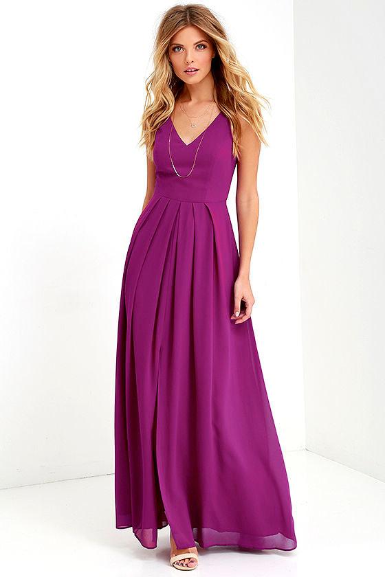 Magenta Purple Gown - Formal Dress - Maxi Dress - $104.00