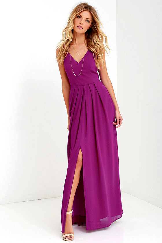 Magenta purple gown formal dress maxi dress for Purple maxi dresses for weddings