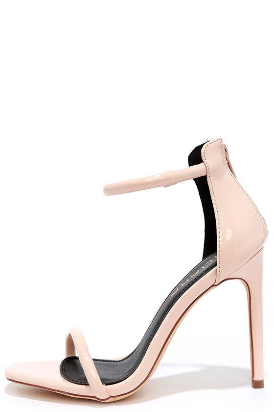 Pretty Nude Heels - Ankle Strap Heels - Patent Heels - $28.00
