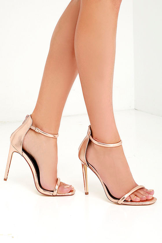 7c2a2a4caefe Pretty Rose Gold Heels - Ankle Strap Heels -  28.00