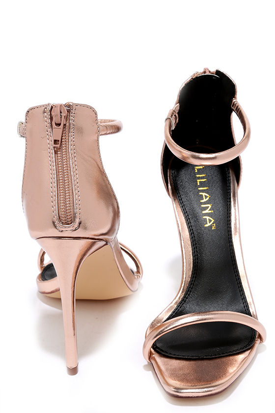Pretty Rose Gold Heels - Ankle Strap Heels - $28.00