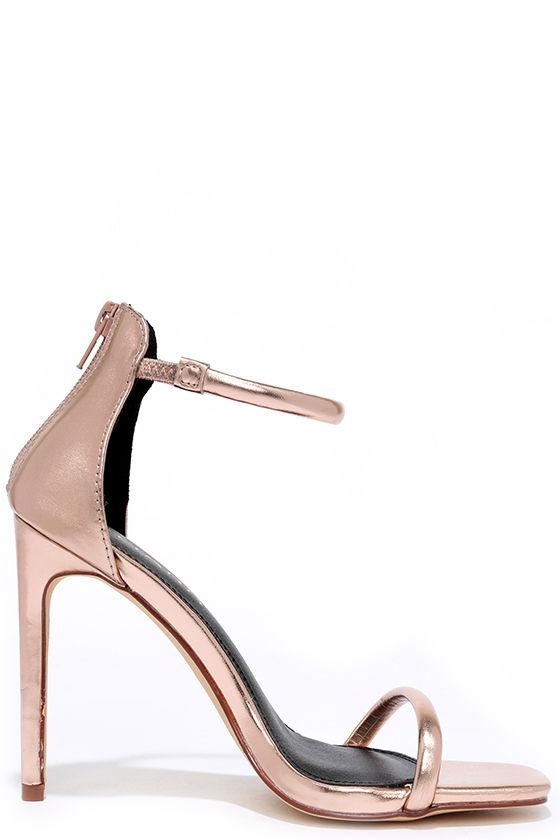 Keen Eye Rose Gold Ankle Strap Heels 4