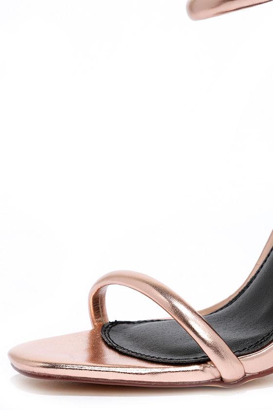 Keen Eye Rose Gold Ankle Strap Heels 6