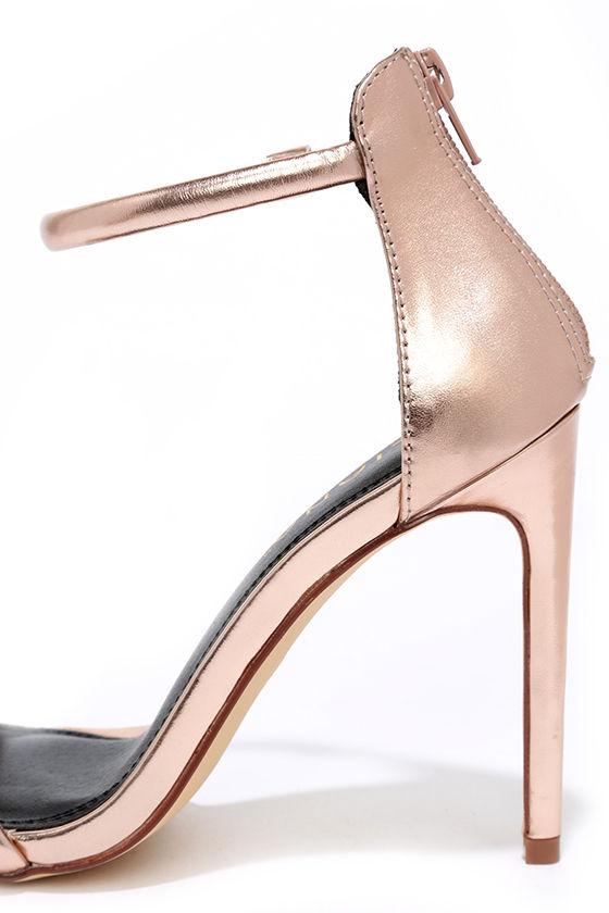 Keen Eye Rose Gold Ankle Strap Heels 7