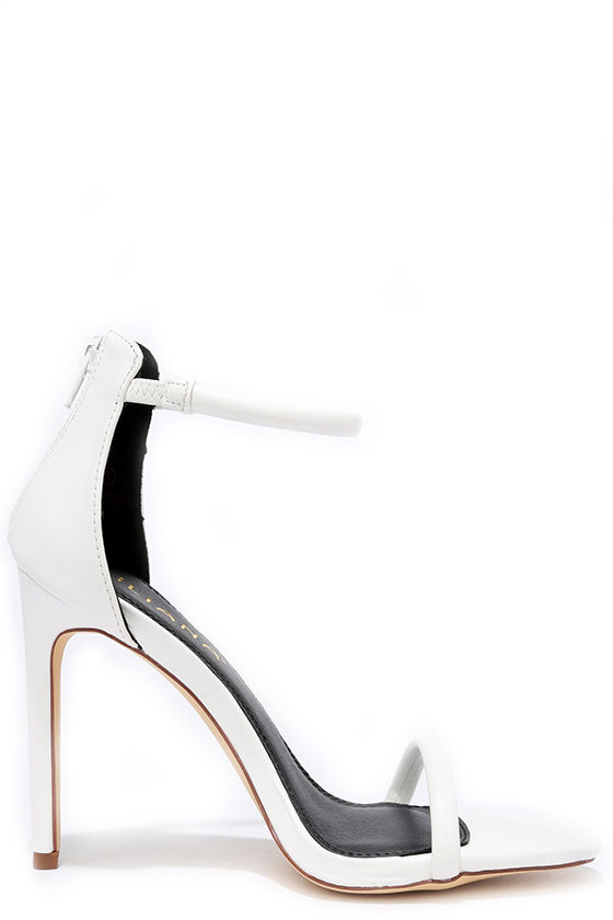 Pretty White Heels - Ankle Strap Heels - $28.00
