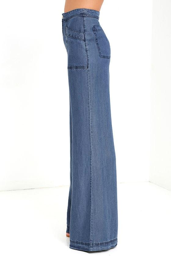 Blue Pant - Chambray Pants - Wide-Leg Pants - $64.00